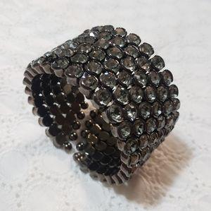 Black Silver Vintage Jewel Gem Wrap Cuff Bracelet